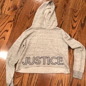 💕girls justice cropped gray hoodie